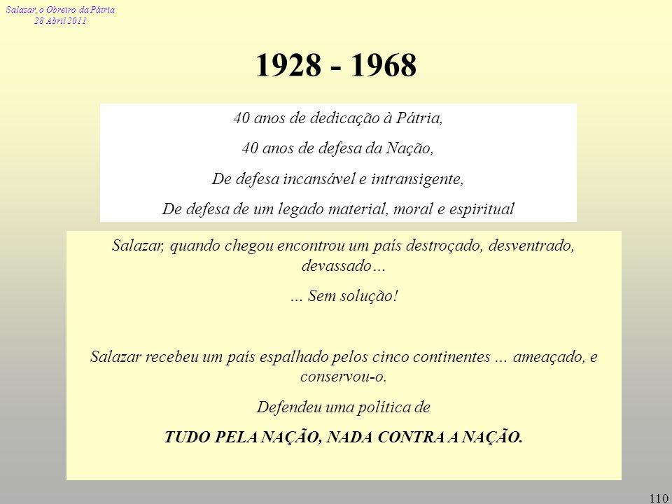 Salazar, o Obreiro da Pátria 28 Abril 2011 110 1928 - 1968 40 anos de dedicação à Pátria, 40 anos de defesa da Nação, De defesa incansável e intransig