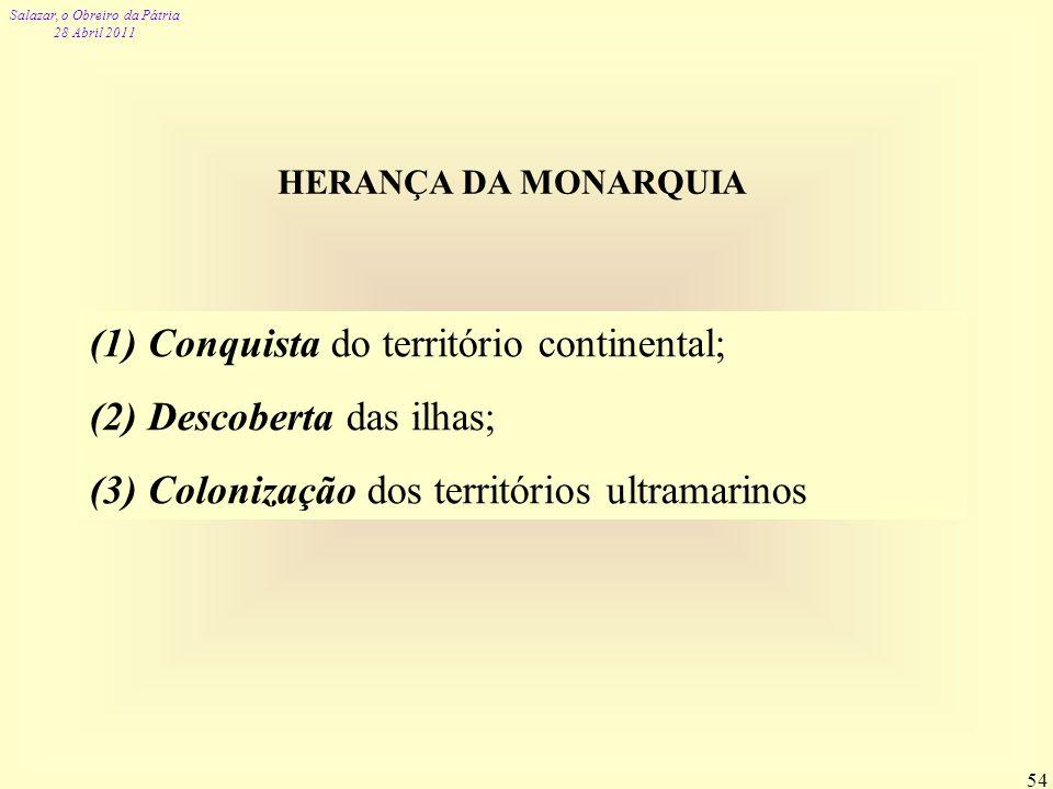 Salazar, o Obreiro da Pátria 28 Abril 2011 54 HERANÇA DA MONARQUIA (1) Conquista do território continental; (2) Descoberta das ilhas; (3) Colonização