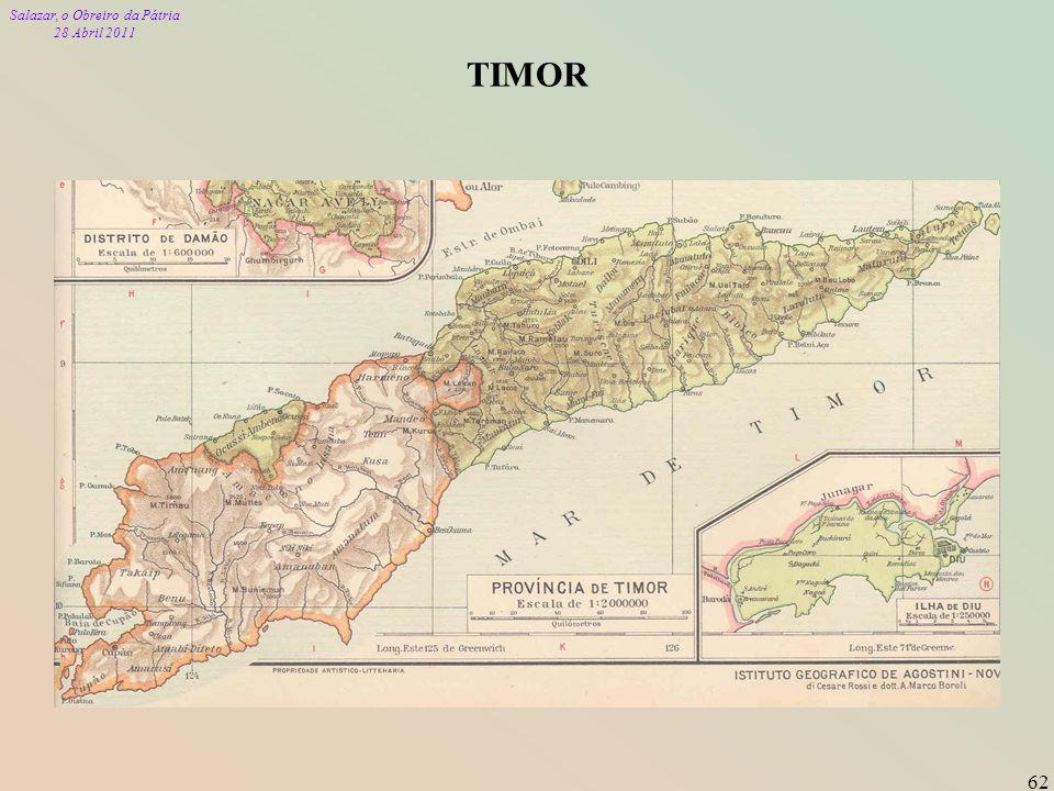 Salazar, o Obreiro da Pátria 28 Abril 2011 62 TIMOR