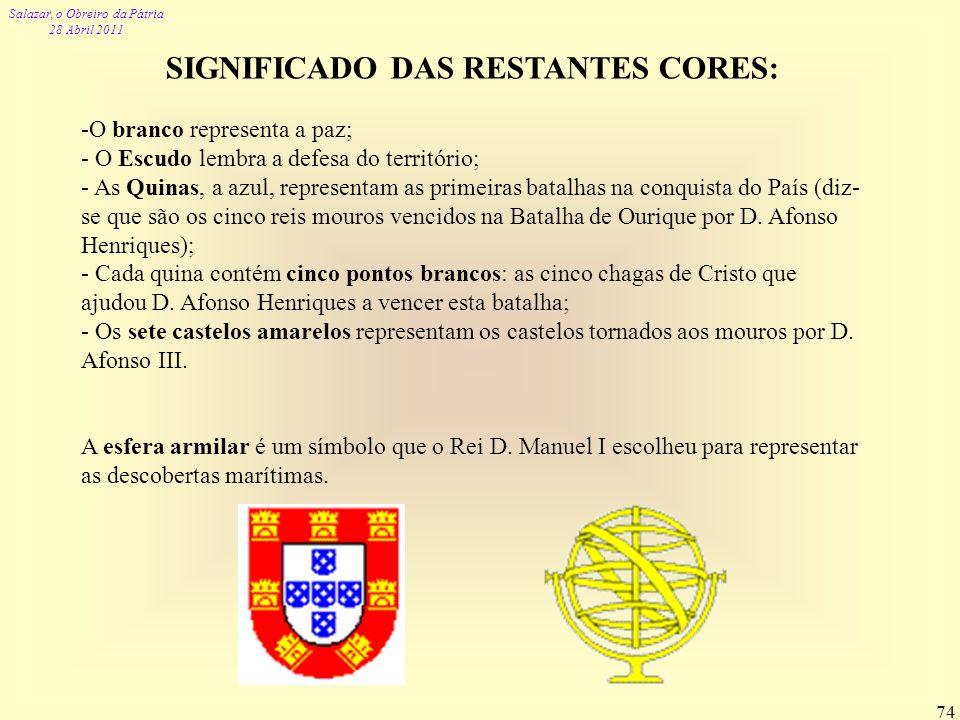 Salazar, o Obreiro da Pátria 28 Abril 2011 74 SIGNIFICADO DAS RESTANTES CORES: -O branco representa a paz; - O Escudo lembra a defesa do território; -