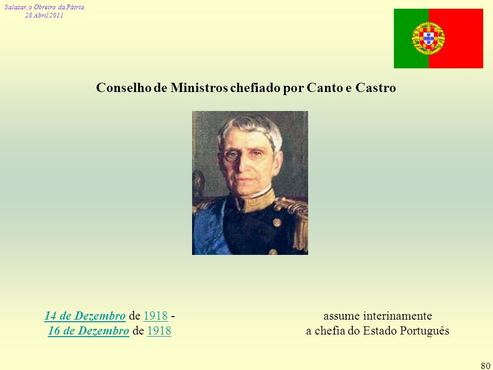 Salazar, o Obreiro da Pátria 28 Abril 2011 80 Conselho de Ministros chefiado por Canto e Castro assume interinamente a chefia do Estado Português 14 d