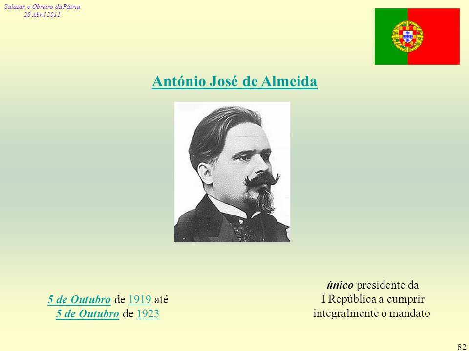 Salazar, o Obreiro da Pátria 28 Abril 2011 82 António José de Almeida 5 de Outubro5 de Outubro de 1919 até 5 de Outubro de 19231919 5 de Outubro1923 ú