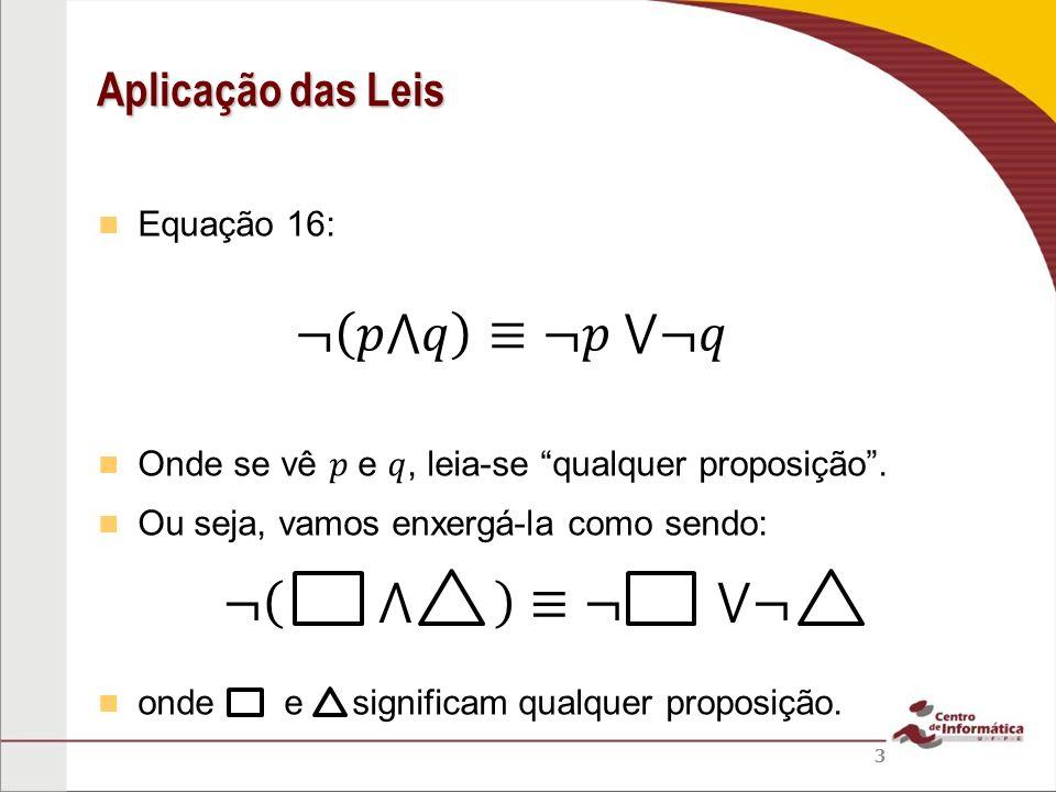 Equação 16: Exemplo: posso aplicar a Equação 16 a NÃO! Veja: Aplicação das Leis 24 (