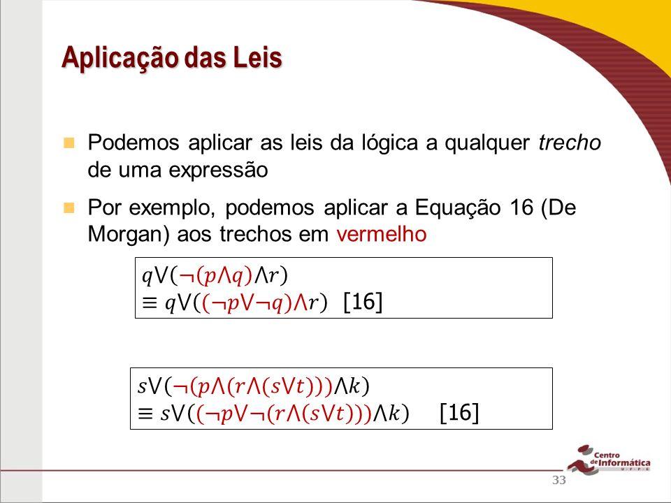 Podemos aplicar as leis da lógica a qualquer trecho de uma expressão Por exemplo, podemos aplicar a Equação 16 (De Morgan) aos trechos em vermelho Apl