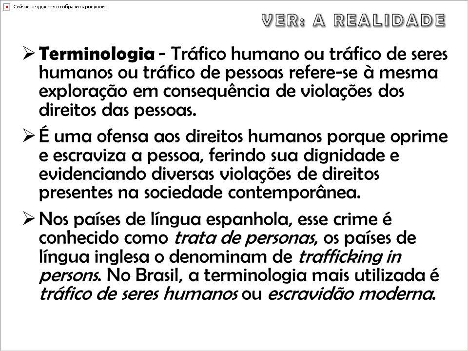Terminologia - Tráfico humano ou tráfico de seres humanos ou tráfico de pessoas refere-se à mesma exploração em consequência de violações dos direitos