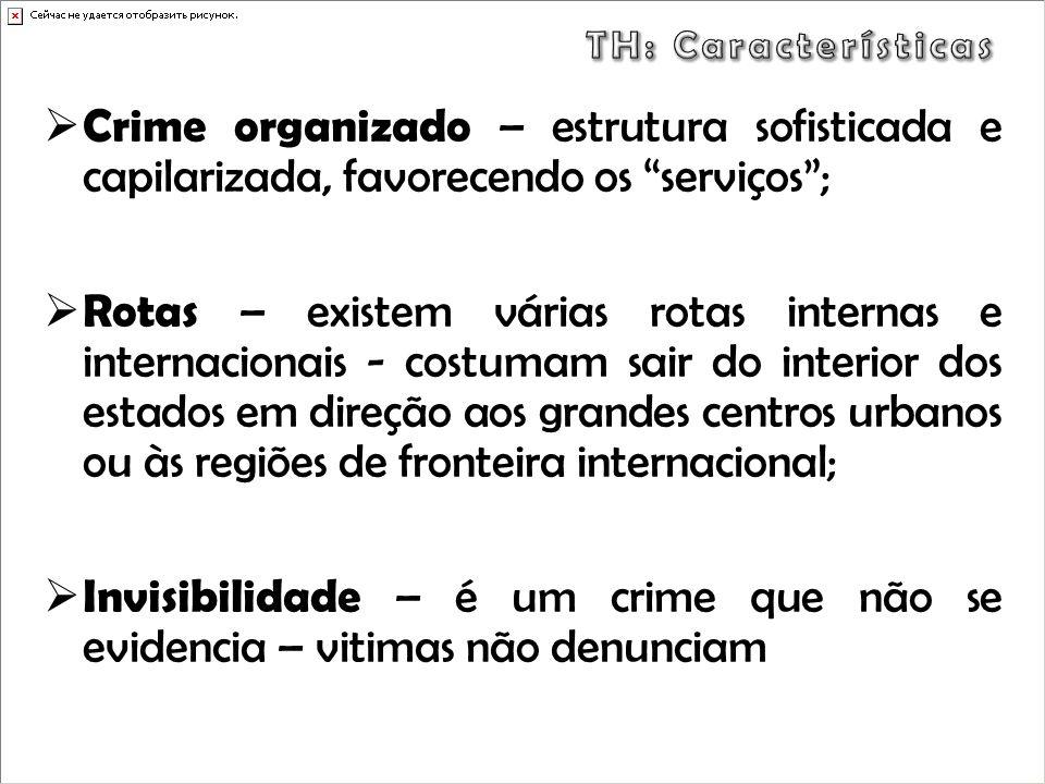 Crime organizado – estrutura sofisticada e capilarizada, favorecendo os serviços; Rotas – existem várias rotas internas e internacionais - costumam sa