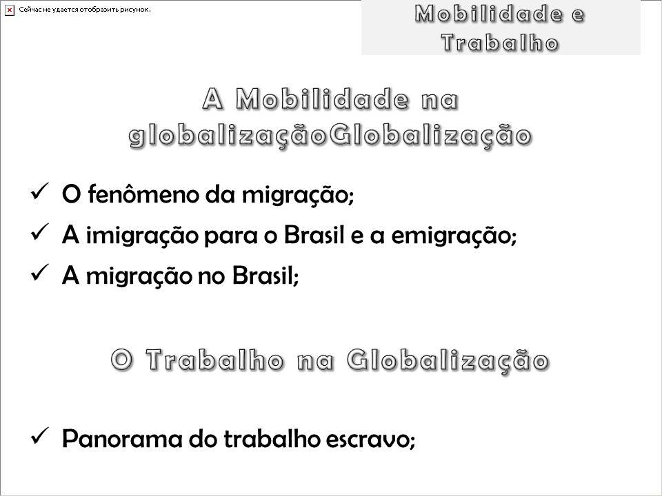 O fenômeno da migração; A imigração para o Brasil e a emigração; A migração no Brasil; Panorama do trabalho escravo;