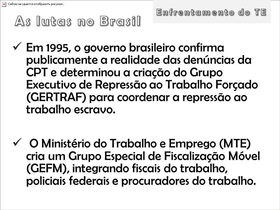 Em 1995, o governo brasileiro confirma publicamente a realidade das denúncias da CPT e determinou a criação do Grupo Executivo de Repressão ao Trabalh