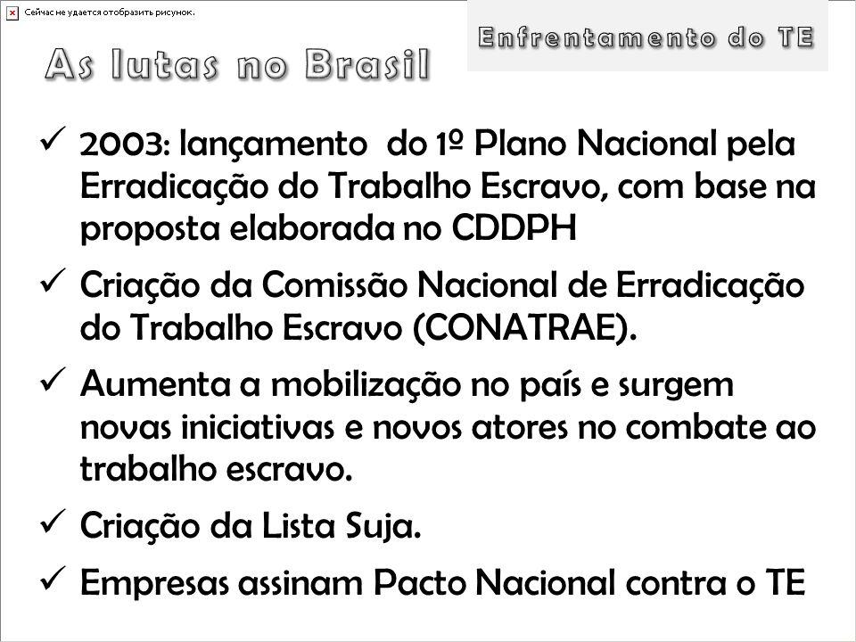 2003: lançamento do 1º Plano Nacional pela Erradicação do Trabalho Escravo, com base na proposta elaborada no CDDPH Criação da Comissão Nacional de Er