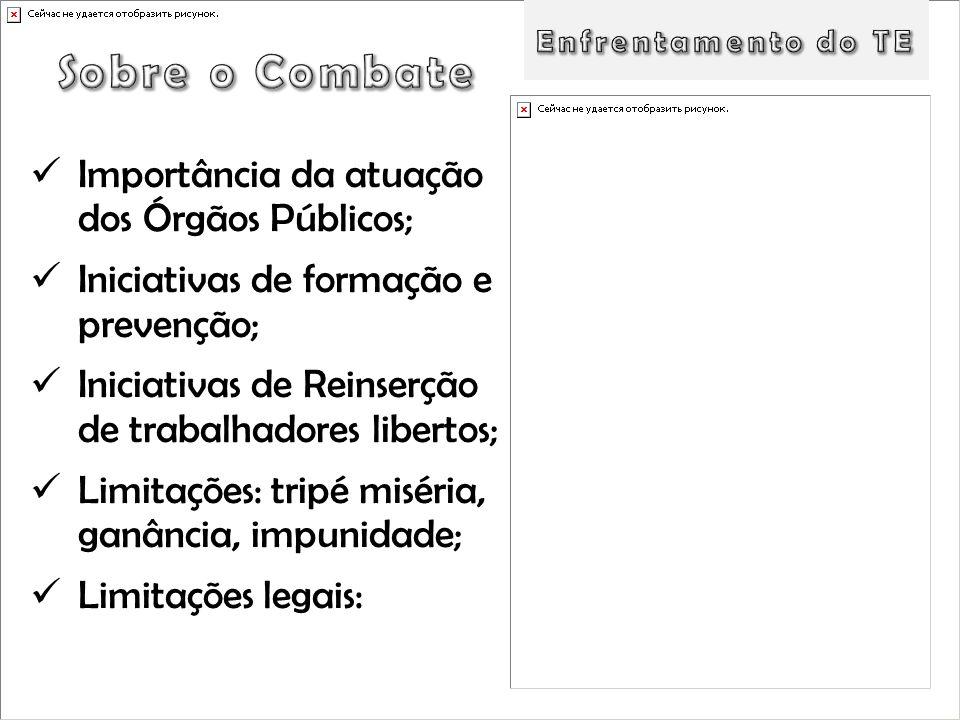 Importância da atuação dos Órgãos Públicos; Iniciativas de formação e prevenção; Iniciativas de Reinserção de trabalhadores libertos; Limitações: trip