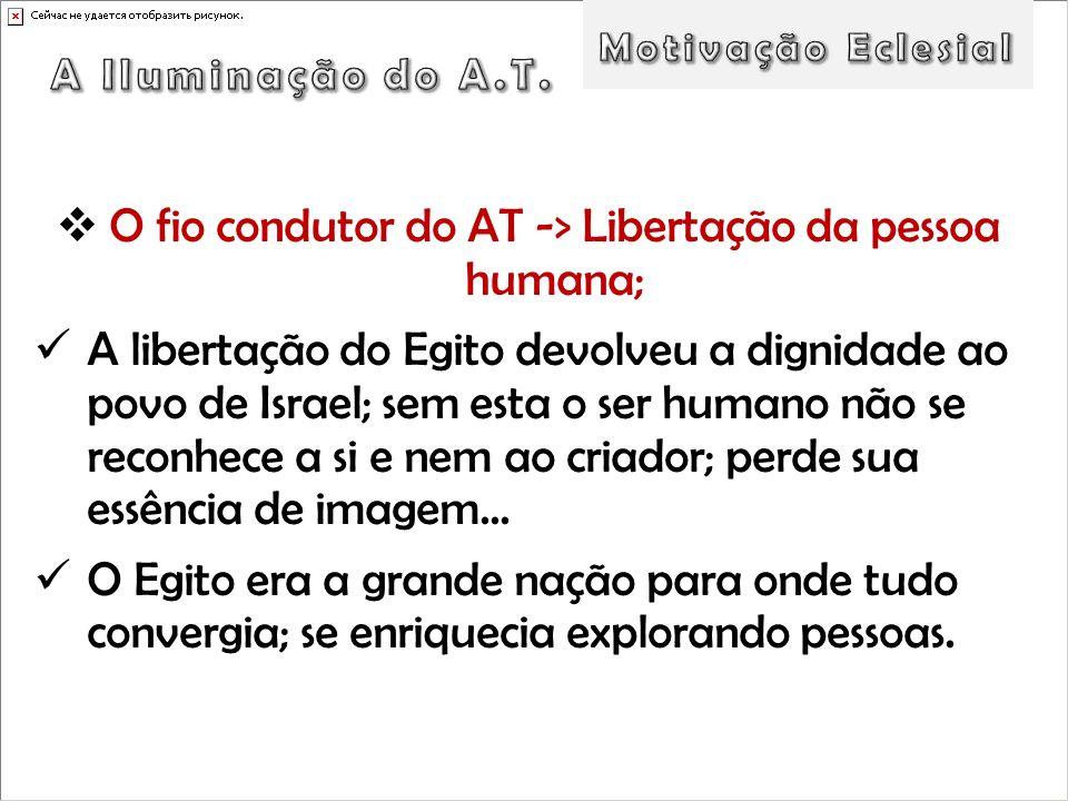 O fio condutor do AT -> Libertação da pessoa humana; A libertação do Egito devolveu a dignidade ao povo de Israel; sem esta o ser humano não se reconh