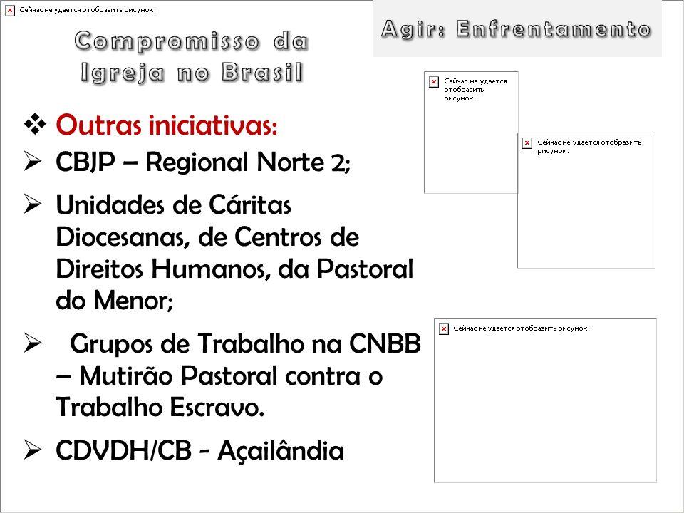 Outras iniciativas: CBJP – Regional Norte 2; Unidades de Cáritas Diocesanas, de Centros de Direitos Humanos, da Pastoral do Menor; Grupos de Trabalho