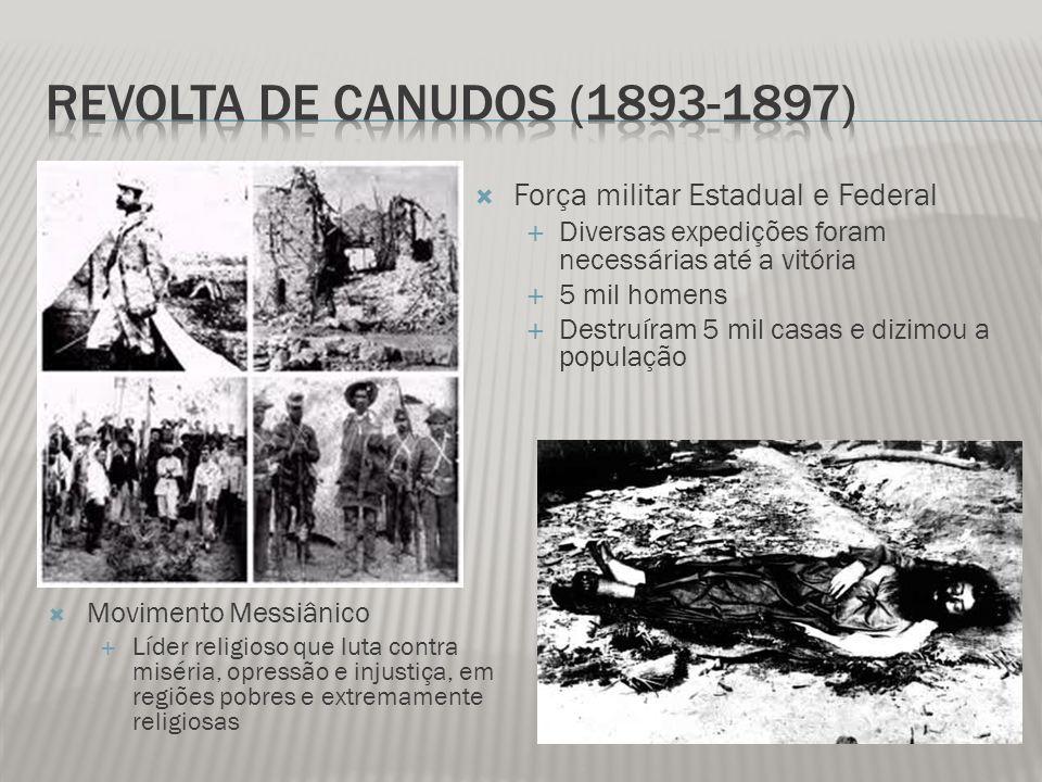 Força militar Estadual e Federal Diversas expedições foram necessárias até a vitória 5 mil homens Destruíram 5 mil casas e dizimou a população Movimen