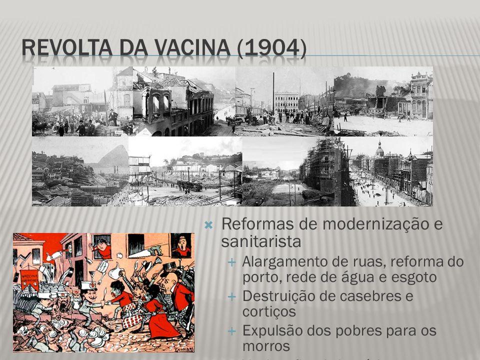 Reformas de modernização e sanitarista Alargamento de ruas, reforma do porto, rede de água e esgoto Destruição de casebres e cortiços Expulsão dos pob