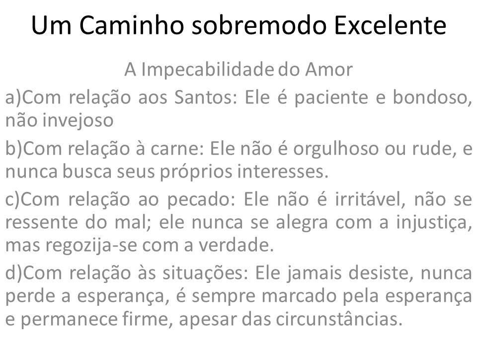 Um Caminho sobremodo Excelente A Impecabilidade do Amor a)Com relação aos Santos: Ele é paciente e bondoso, não invejoso b)Com relação à carne: Ele nã