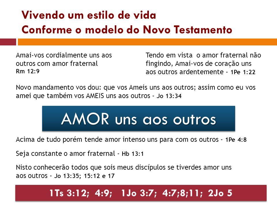 Vivendo um estilo de vida Conforme o modelo do Novo Testamento AMOR uns aos outros Amai-vos cordialmente uns aos outros com amor fraternal Rm 12:9 Ten