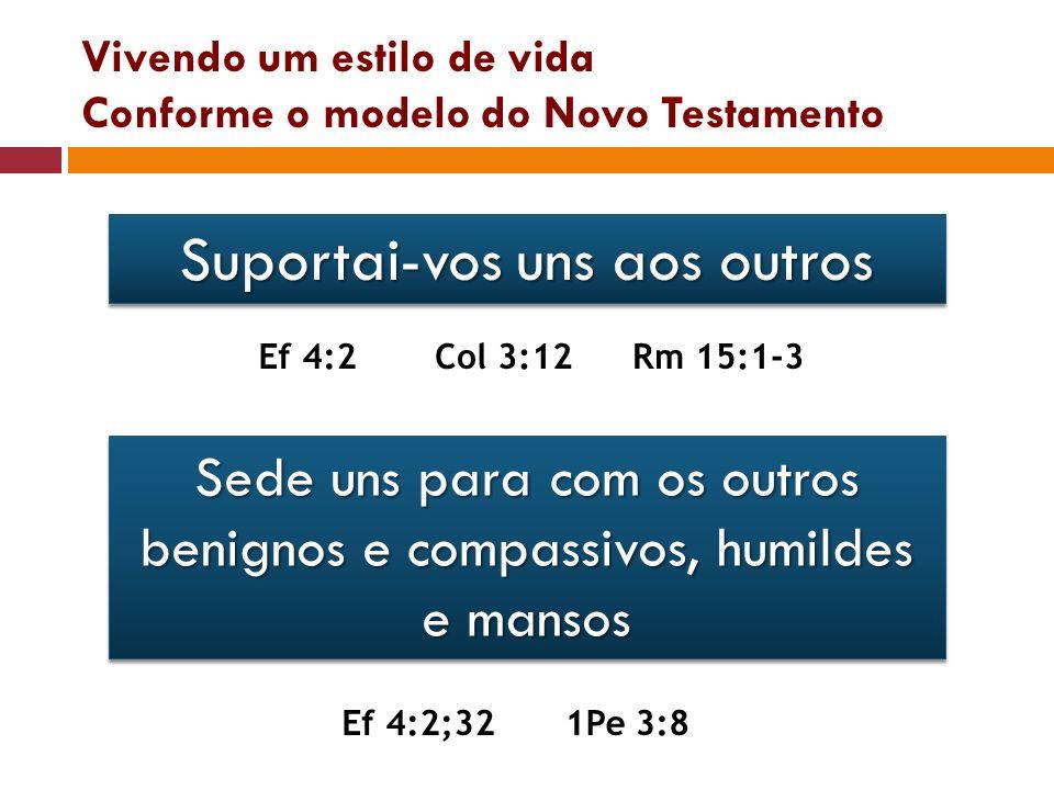Vivendo um estilo de vida Conforme o modelo do Novo Testamento Suportai-vos uns aos outros Ef 4:2Col 3:12Rm 15:1-3 Sede uns para com os outros benigno