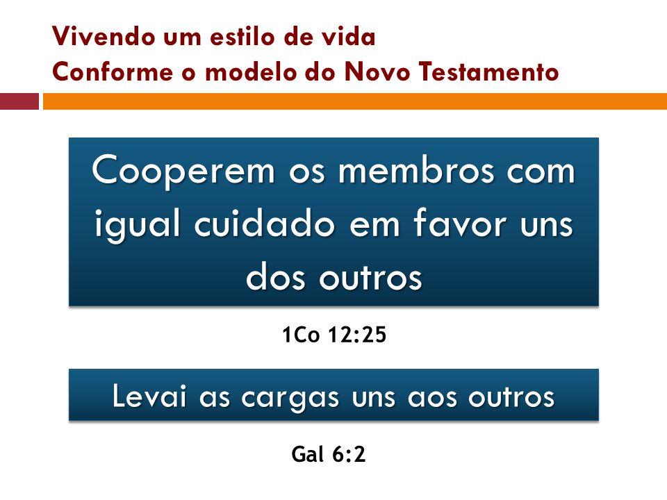 Vivendo um estilo de vida Conforme o modelo do Novo Testamento Cooperem os membros com igual cuidado em favor uns dos outros 1Co 12:25 Levai as cargas