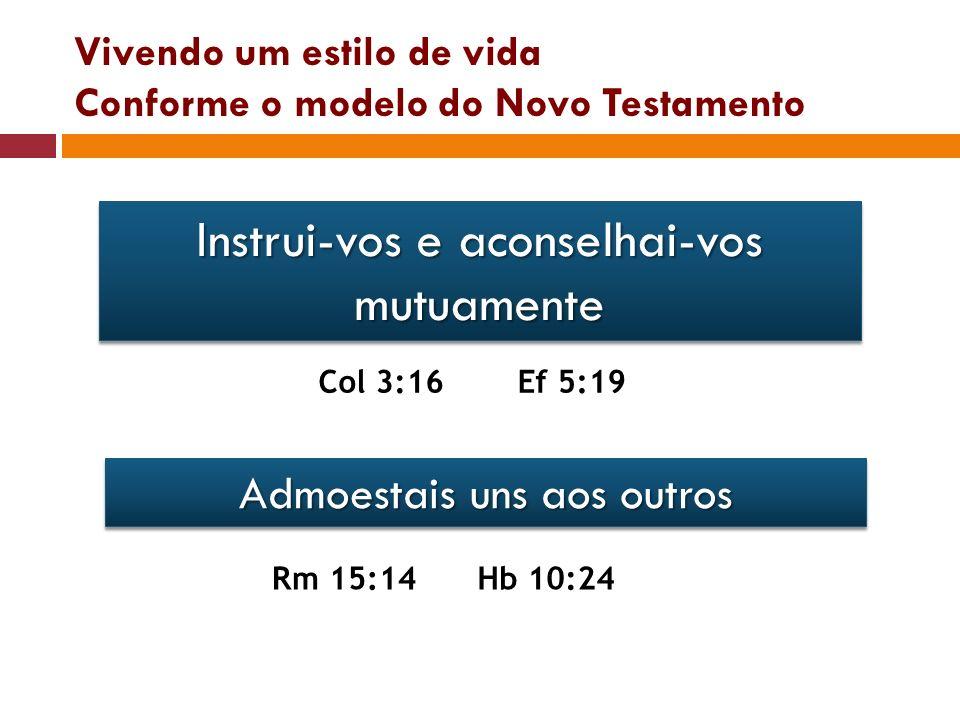 Vivendo um estilo de vida Conforme o modelo do Novo Testamento Instrui-vos e aconselhai-vos mutuamente Col 3:16Ef 5:19 Admoestais uns aos outros Rm 15