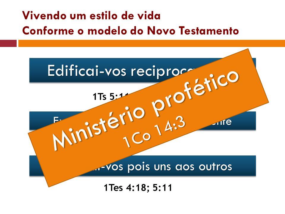 Vivendo um estilo de vida Conforme o modelo do Novo Testamento Edificai-vos reciprocamente 1Ts 5:11Rm 14:19 Exortai-vos (encorajar) mutuamente Hb 3:13
