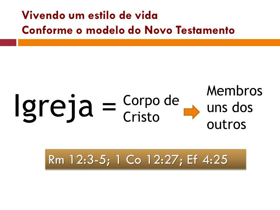 Vivendo um estilo de vida Conforme o modelo do Novo Testamento Igreja= Corpo de Cristo Membros uns dos outros Rm 12:3-5; 1 Co 12:27; Ef 4:25