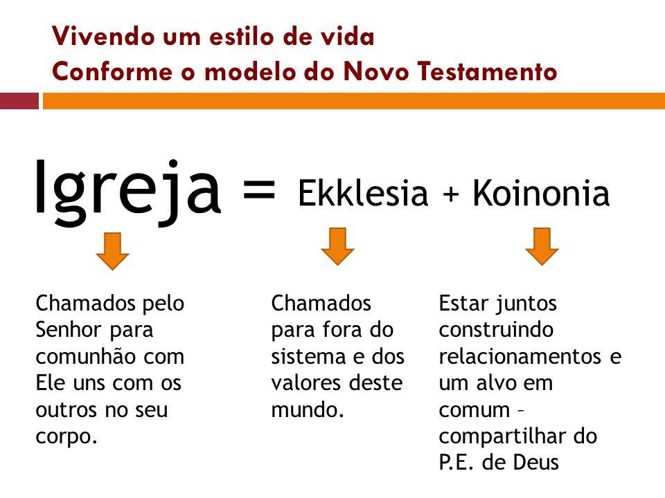 Vivendo um estilo de vida Conforme o modelo do Novo Testamento Igreja= Ekklesia + Koinonia Chamados pelo Senhor para comunhão com Ele uns com os outro