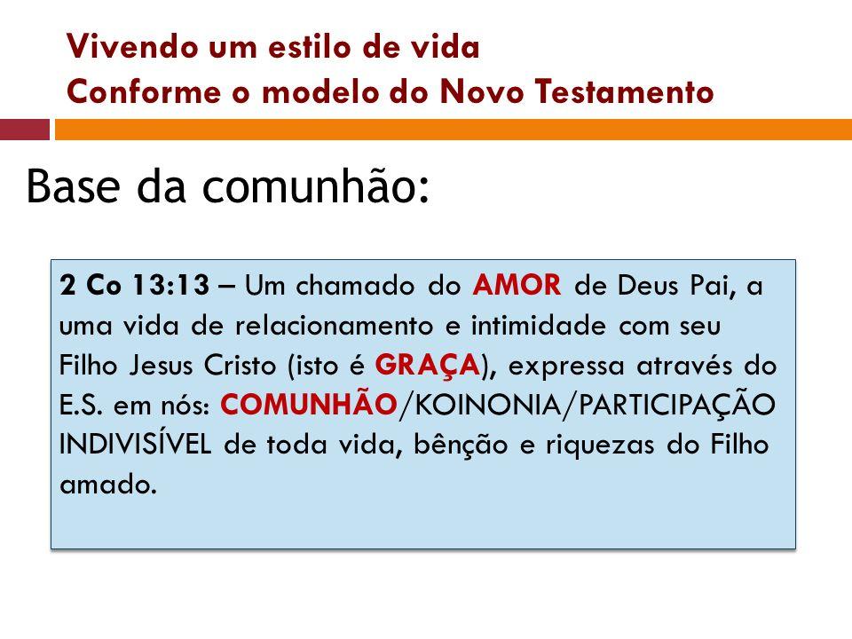 Vivendo um estilo de vida Conforme o modelo do Novo Testamento Base da comunhão: 2 Co 13:13 – Um chamado do AMOR de Deus Pai, a uma vida de relacionam