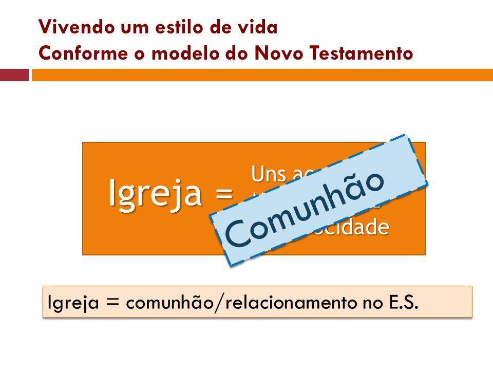 Vivendo um estilo de vida Conforme o modelo do Novo Testamento Uns aos outros MutualidadesReciprocidade Igreja = Comunhão Igreja = comunhão/relacionam