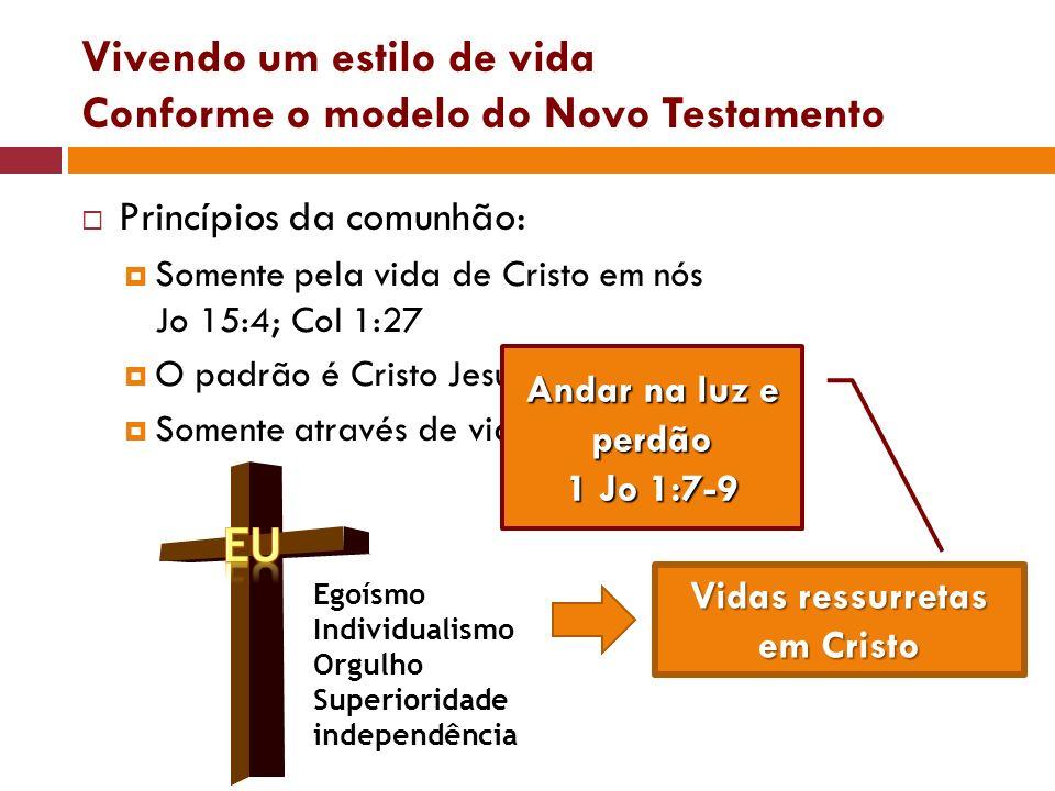 Princípios da comunhão: Somente pela vida de Cristo em nós Jo 15:4; Col 1:27 O padrão é Cristo Jesus – Jo 13:34 Somente através de vidas crucificadas