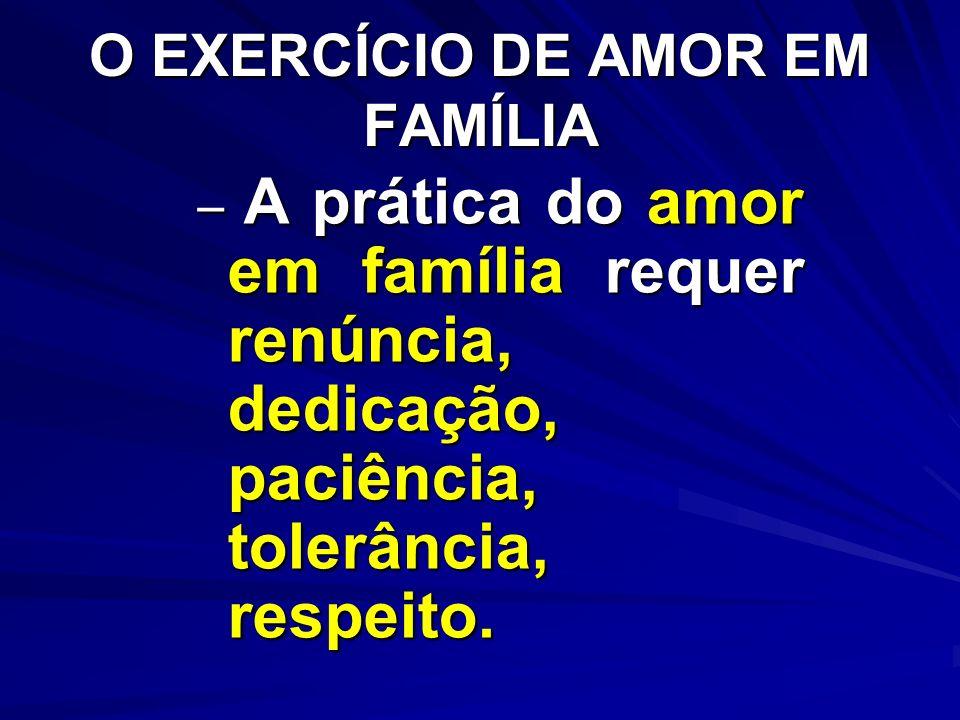 O EXERCÍCIO DE AMOR EM FAMÍLIA – A prática do amor em família requer renúncia, dedicação, paciência, tolerância, respeito.
