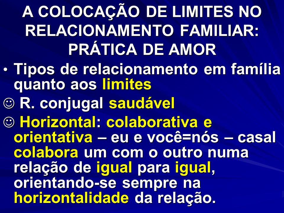 A COLOCAÇÃO DE LIMITES NO RELACIONAMENTO FAMILIAR: PRÁTICA DE AMOR R.