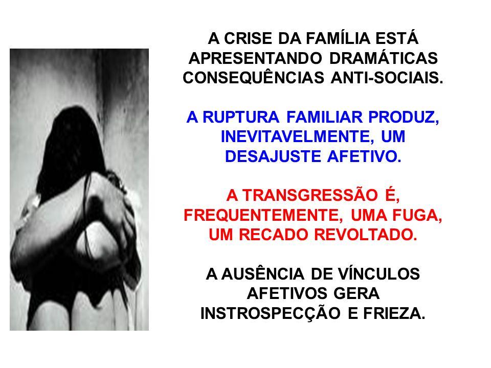 A CRISE DA FAMÍLIA ESTÁ APRESENTANDO DRAMÁTICAS CONSEQUÊNCIAS ANTI-SOCIAIS.