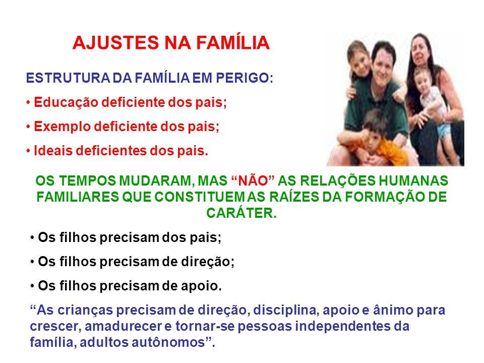 AJUSTES NA FAMÍLIA ESTRUTURA DA FAMÍLIA EM PERIGO: Educação deficiente dos pais; Exemplo deficiente dos pais; Ideais deficientes dos pais.