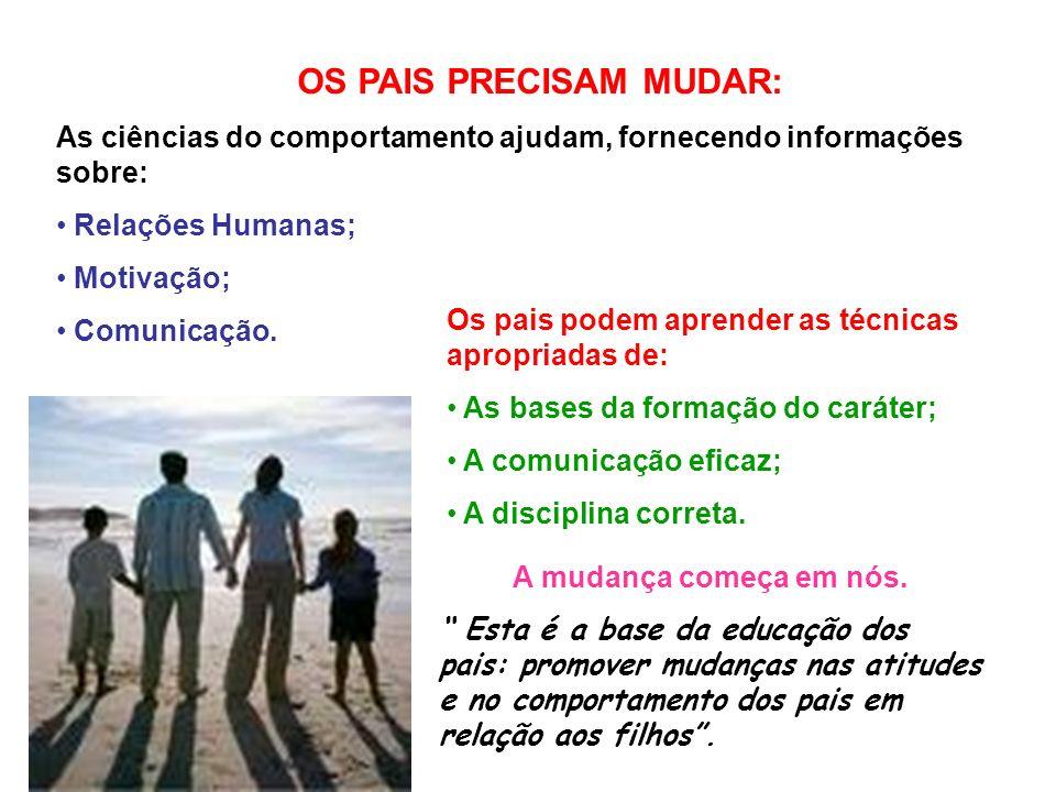 OS PAIS PRECISAM MUDAR: As ciências do comportamento ajudam, fornecendo informações sobre: Relações Humanas; Motivação; Comunicação.