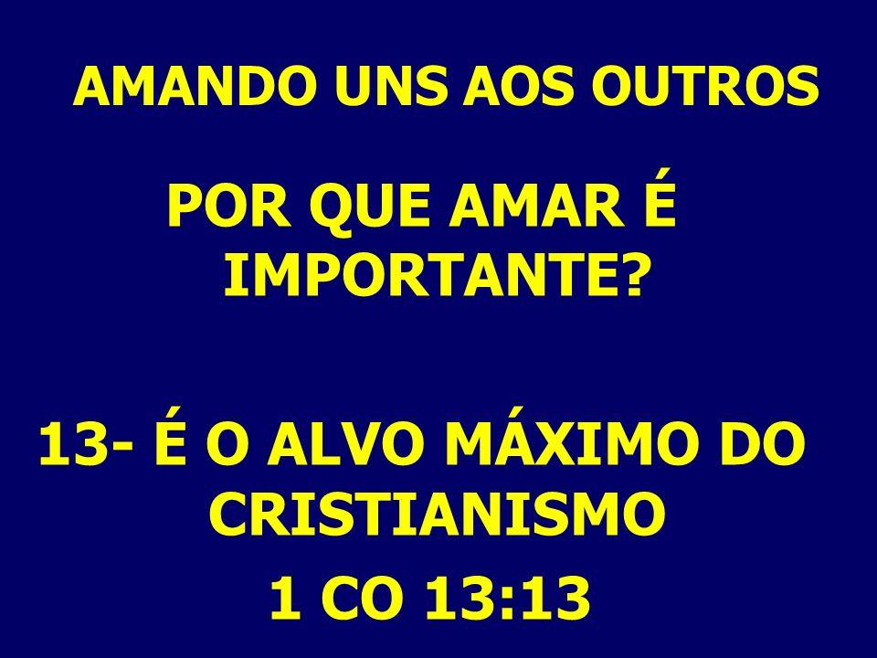 AMANDO UNS AOS OUTROS POR QUE AMAR É IMPORTANTE? 13- É O ALVO MÁXIMO DO CRISTIANISMO 1 CO 13:13