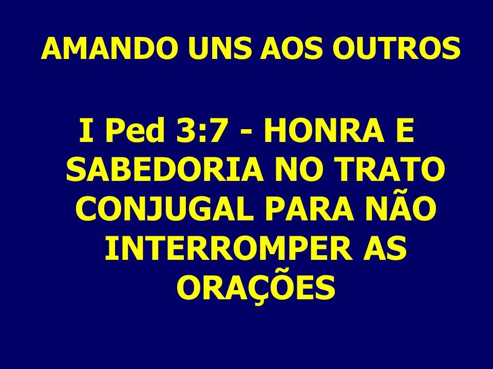AMANDO UNS AOS OUTROS I Ped 3:7 - HONRA E SABEDORIA NO TRATO CONJUGAL PARA NÃO INTERROMPER AS ORAÇÕES