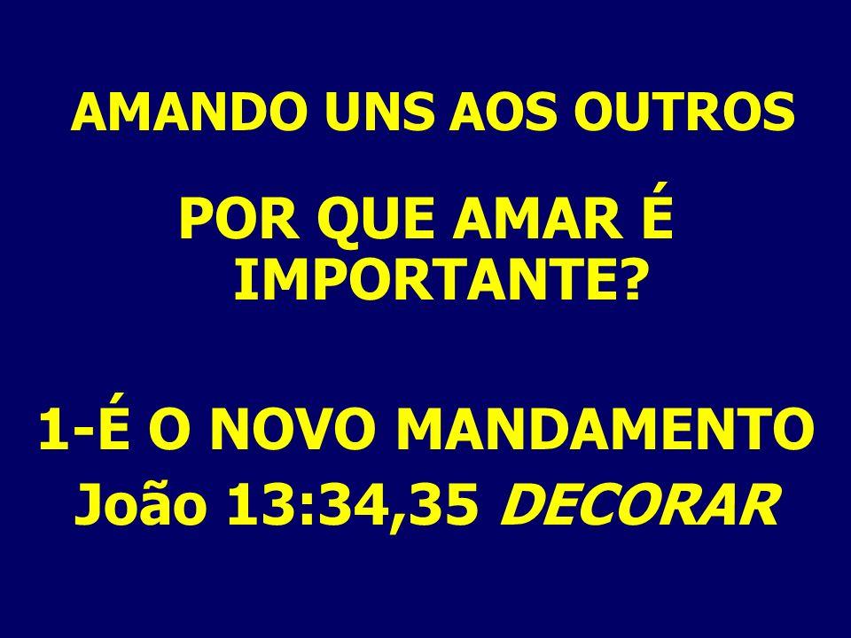 AMANDO UNS AOS OUTROS POR QUE AMAR É IMPORTANTE? 1-É O NOVO MANDAMENTO João 13:34,35 DECORAR