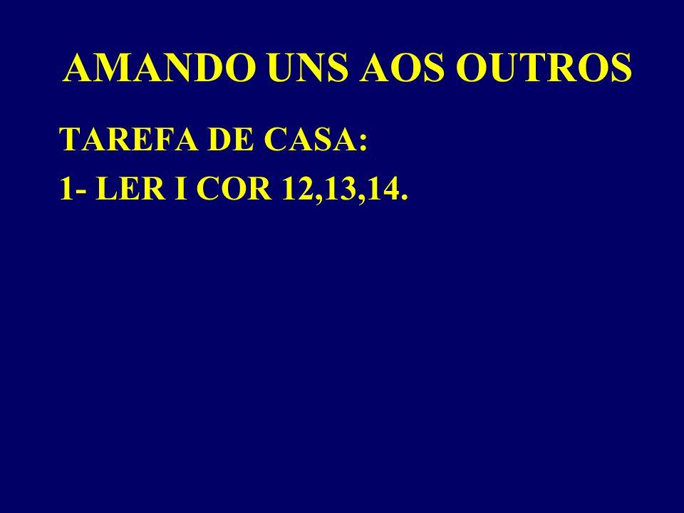 AMANDO UNS AOS OUTROS TAREFA DE CASA: 1- LER I COR 12,13,14.