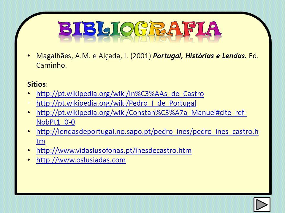 Magalhães, A.M. e Alçada, I. (2001) Portugal, Histórias e Lendas. Ed. Caminho. Sítios: http://pt.wikipedia.org/wiki/In%C3%AAs_de_Castro http://pt.wiki