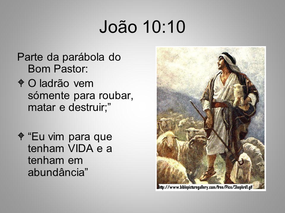 João 10:10 Parte da parábola do Bom Pastor: O ladrão vem sómente para roubar, matar e destruir; Eu vim para que tenham VIDA e a tenham em abundância