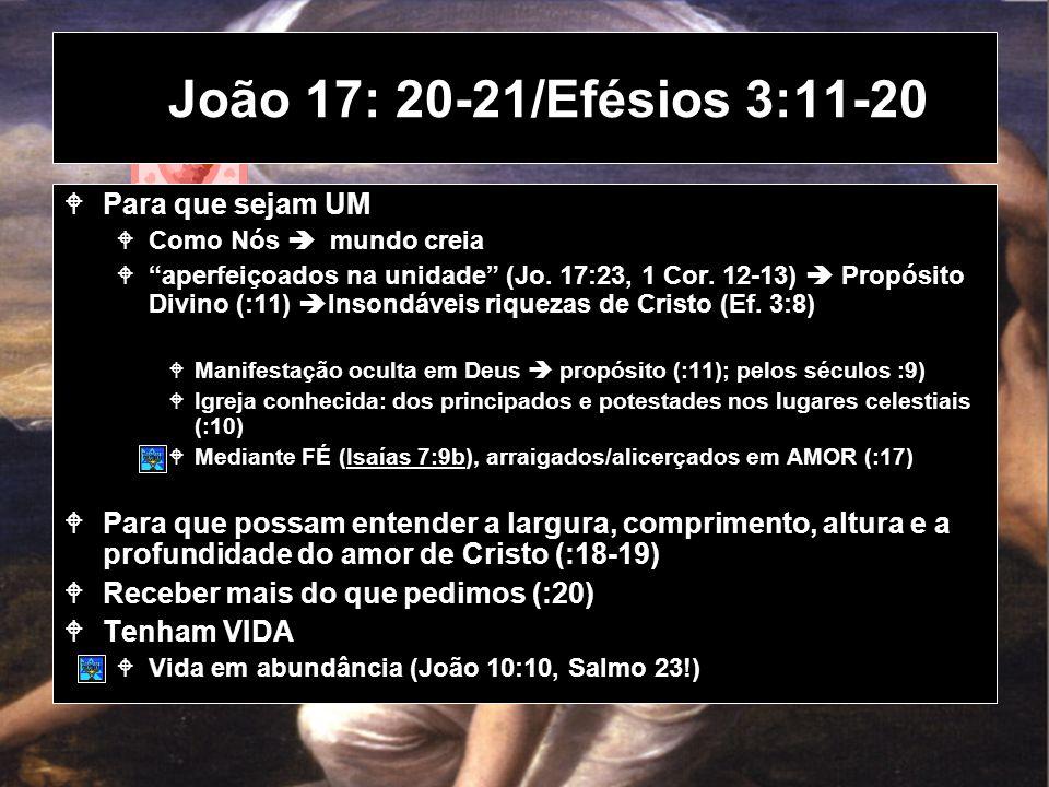 João 17: 20-21/Efésios 3:11-20 Para que sejam UM Como Nós mundo creia aperfeiçoados na unidade (Jo.