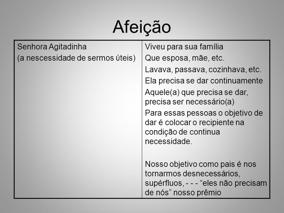 Afeição Senhora Agitadinha (a nescessidade de sermos ύteis) Viveu para sua família Que esposa, mãe, etc.