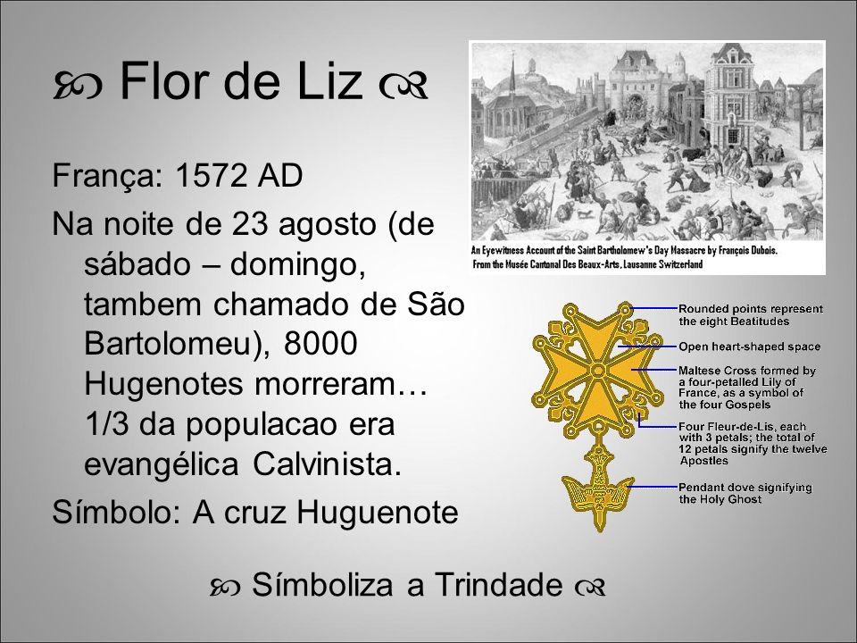 Flor de Liz França: 1572 AD Na noite de 23 agosto (de sábado – domingo, tambem chamado de São Bartolomeu), 8000 Hugenotes morreram… 1/3 da populacao era evangélica Calvinista.