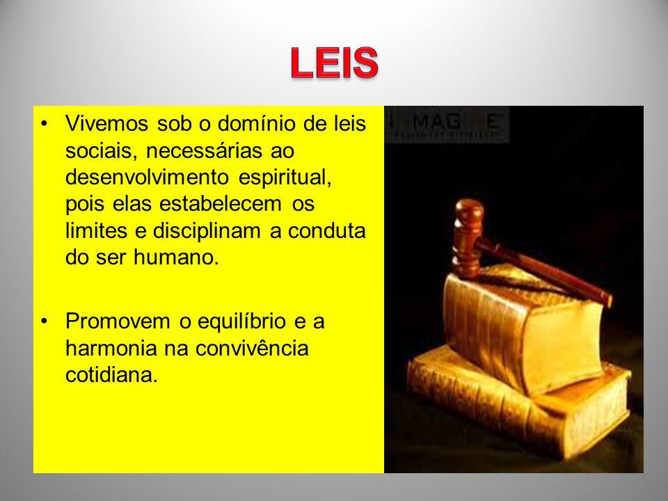 Vivemos sob o domínio de leis sociais, necessárias ao desenvolvimento espiritual, pois elas estabelecem os limites e disciplinam a conduta do ser huma