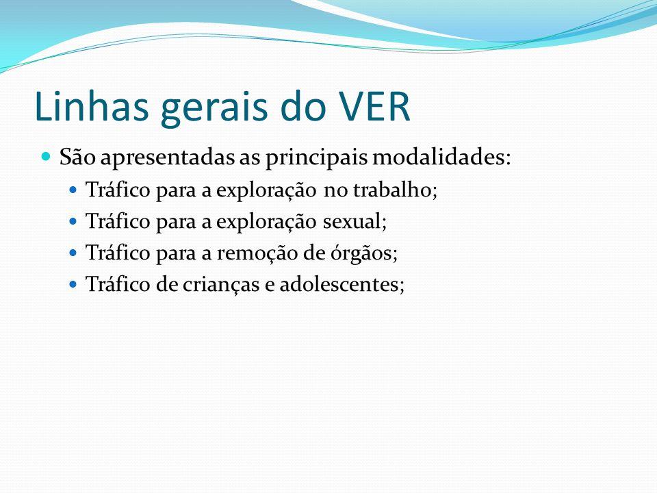 Linhas gerais do VER São apresentadas as principais modalidades: Tráfico para a exploração no trabalho; Tráfico para a exploração sexual; Tráfico para