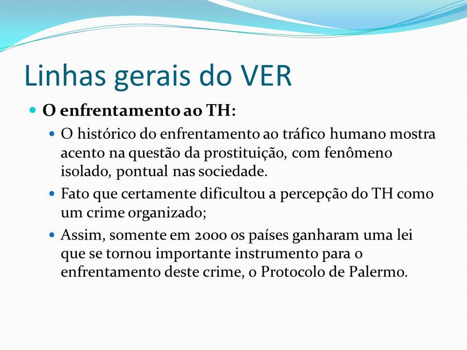 Linhas gerais do VER O enfrentamento ao TH: O histórico do enfrentamento ao tráfico humano mostra acento na questão da prostituição, com fenômeno isol