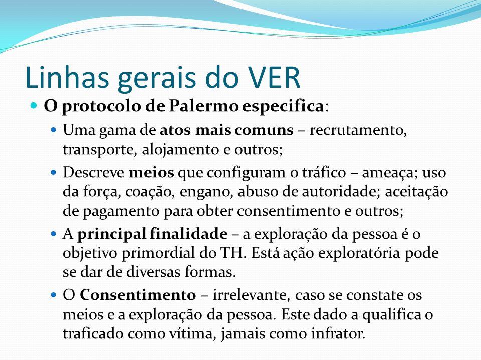 Linhas gerais do VER O protocolo de Palermo especifica: Uma gama de atos mais comuns – recrutamento, transporte, alojamento e outros; Descreve meios q