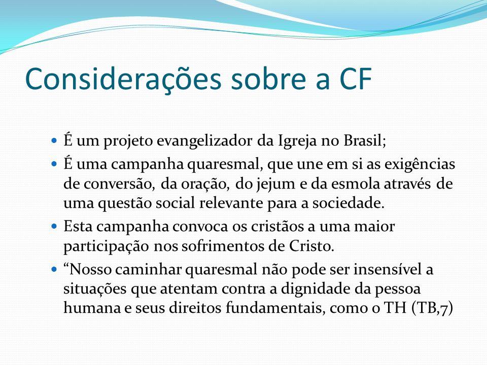 Considerações sobre a CF É um projeto evangelizador da Igreja no Brasil; É uma campanha quaresmal, que une em si as exigências de conversão, da oração