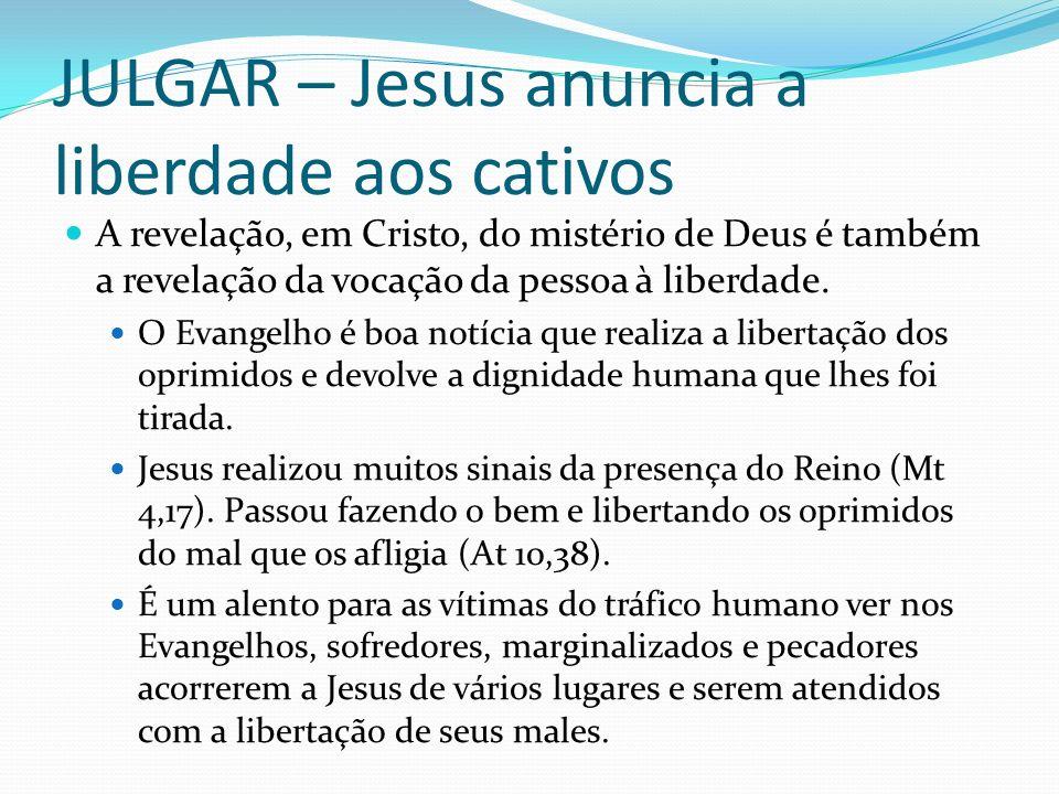 JULGAR – Jesus anuncia a liberdade aos cativos A revelação, em Cristo, do mistério de Deus é também a revelação da vocação da pessoa à liberdade. O Ev