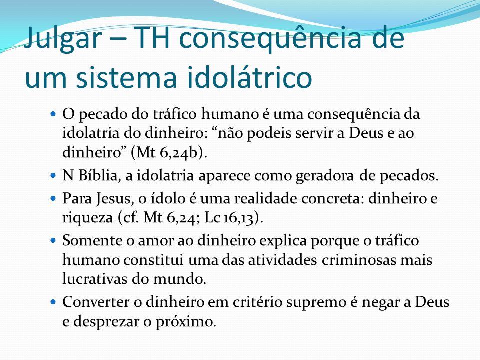 Julgar – TH consequência de um sistema idolátrico O pecado do tráfico humano é uma consequência da idolatria do dinheiro: não podeis servir a Deus e a